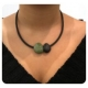 COLLIER GALETS Turquoise/Noir